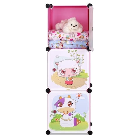ALEKO Children's Collapsible Multipurpose Organizer Cubes 3 Level Pink
