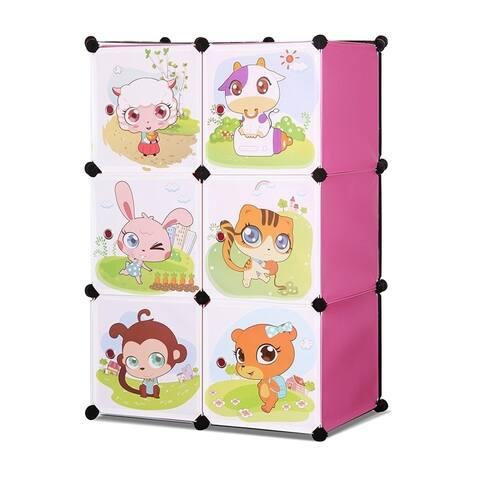 ALEKO Kids Interlocking Multipurpose Organizer 3 Level 6 Cube Pink