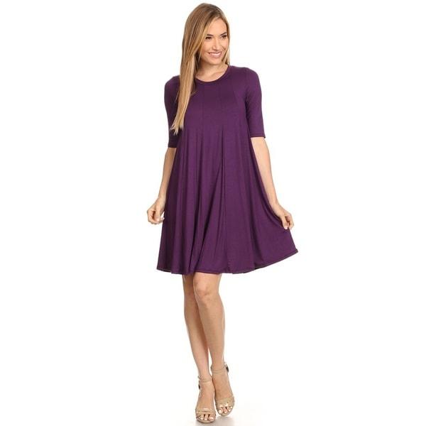 FRPE-Women Solid Color Round Neck Double Layered Chiffon Mini Tank Dress