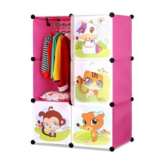 ALEKO Kids Interlocking Multipurpose Organizer with Garment Rack Pink