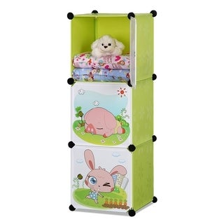 ALEKO Children Collapsible Multipurpose Organizer Cubes 3 Level Green