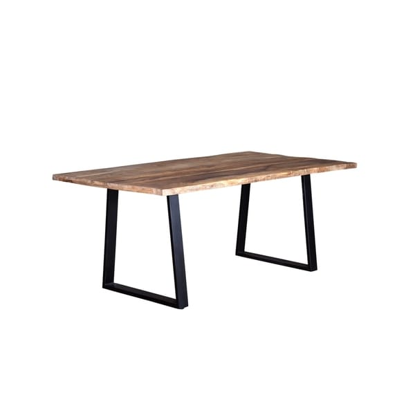 Wanderloot Crossover Natural Live Edge Dining Table With Trapezoid Base - Brown - 72''L x 40''W x 31''H