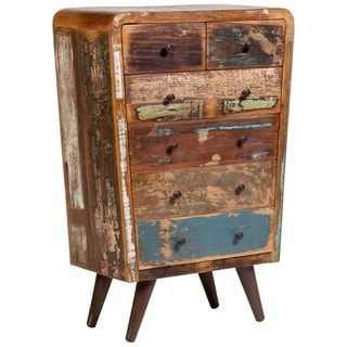 """Handmade Route 66 Wood Tall Chest of Drawers - 47.5"""" x 16"""" x 32"""" (India)"""