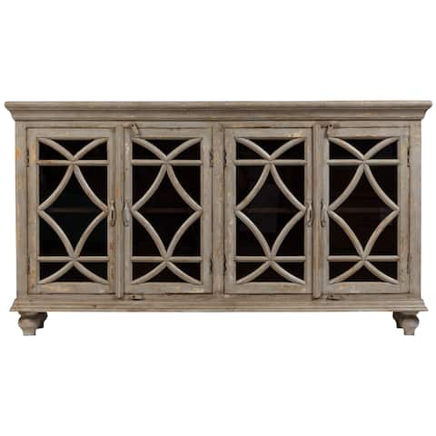 Wanderloot Celine Gray Wash Mango Wood 4 Door Sideboard - 72''L x 17''W x 40''H