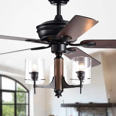 Saranac 5-Blade 52-Inch Forged Black Lighted Ceiling Fans w/ Clear Pillar Glass Lamps (Remote Controlled&2 Color Option Blades)