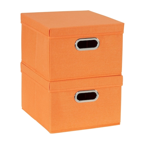 Collapsible Linen Box Set 2pc; Tangerine