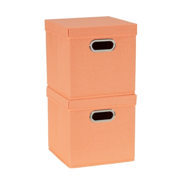 Collapsible Fabric Storage Cube Set 2pc; Melon