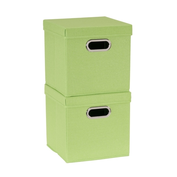 Collapsible Fabric Storage Cube Set 2pc; Apple Heather