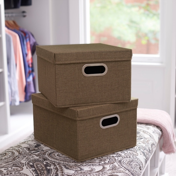 Collapsible Linen Box Set 2pc; Moss