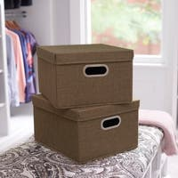 Collapsible Linen Box Set 2pc; Moss