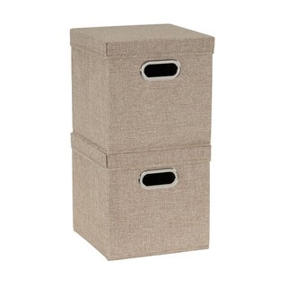 Collapsible Fabric Storage Cube Set 2pc; Cafe