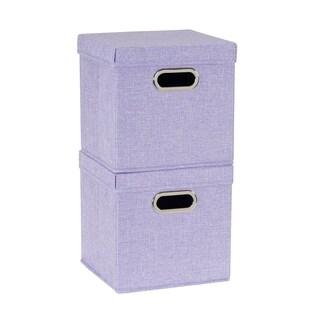 Collapsible Fabric Storage Cube Set 2pc; Iris Heather