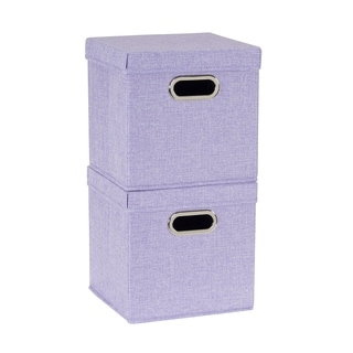 Collapsible Fabric Storage Cube Set 2pc; Iris Heather - N/A