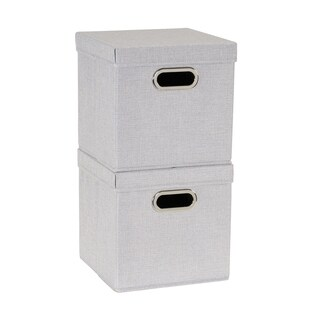 Collapsible Fabric Storage Cube Set 2pc; Silver