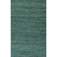 DENVER Hand Loomed Casual Peacock Flatweave Wool Area Rug 9' x 13' - 9' x 13'
