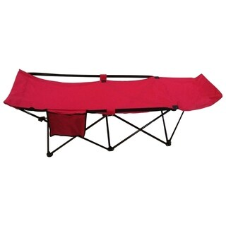 ALEKO Portable Collapsible Camping Bed with Side Storage Bag Red
