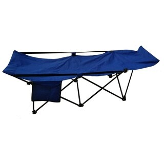 ALEKO Portable Collapsible Camping Bed with Side Storage Bag Blue