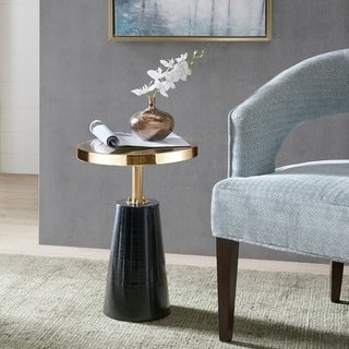"Madison Park Venice Black/Gold Accent Table - dia. 14.25"" x 20""h"