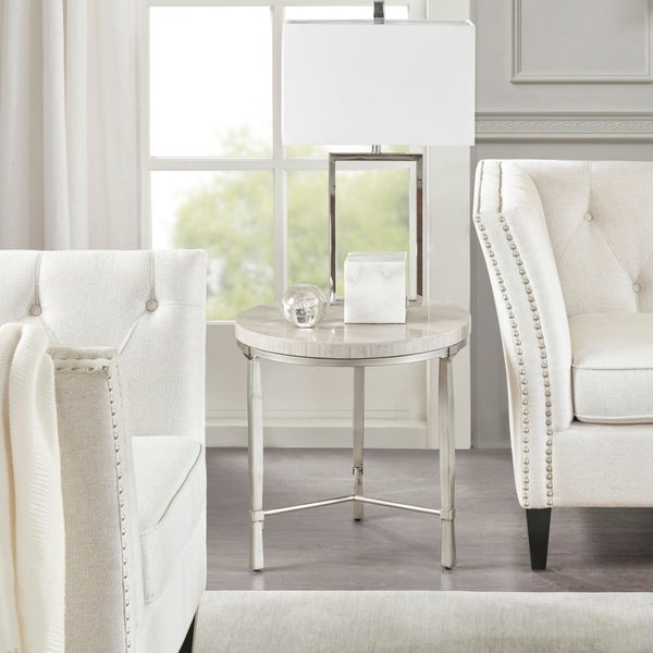 Madison Park Boca Silver/Cream Round End Table With Marble Veneer Top