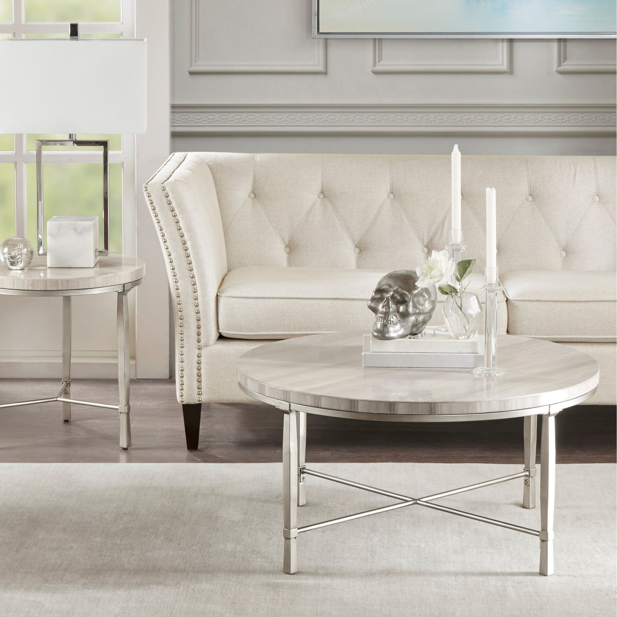 Madison Park Boca Silver Cream Real Marble Round Coffee Table Metal Base Overstock 22538520