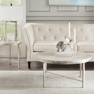 Madison Park Boca Silver/Cream Real Marble Round Coffee Table Metal Base