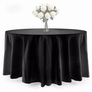 "90"" Elegant Wedding Decoration Round Dacron Tablecloth Black"