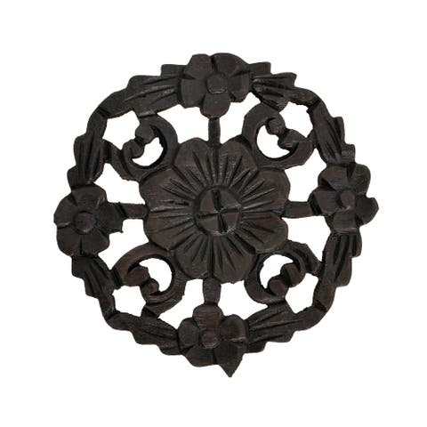 Handmade Floral Inspired Hand Carved Wooden Round Place (Thailand)