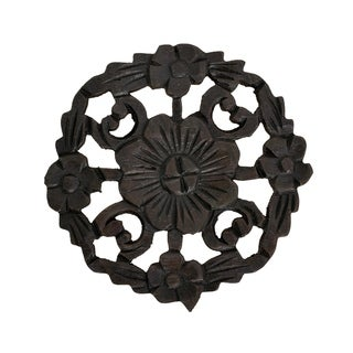 Handmade Floral Inspired Hand Carved Wooden Round Place Mat (Thailand)