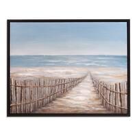 Sand Dune Fence Coastal Framed Canvas Art