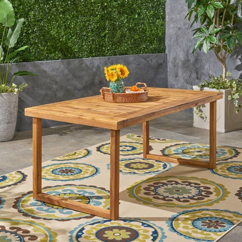 """Nestor Outdoor 69"""" Acacia Wood Dining Table by Christopher Knight Home"""