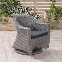 Big Sur Outdoor Wicker Swivel Chair with Outdoor Cushion by Christopher Knight Home