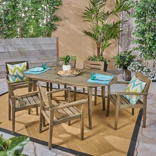 Stamford Outdoor 7-Piece Acacia Wood Dining Set with Oval Table by Christopher Knight Home