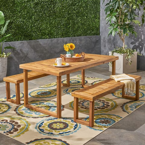 Nestor Outdoor Acacia Wood Picnic Set by Christopher Knight Home