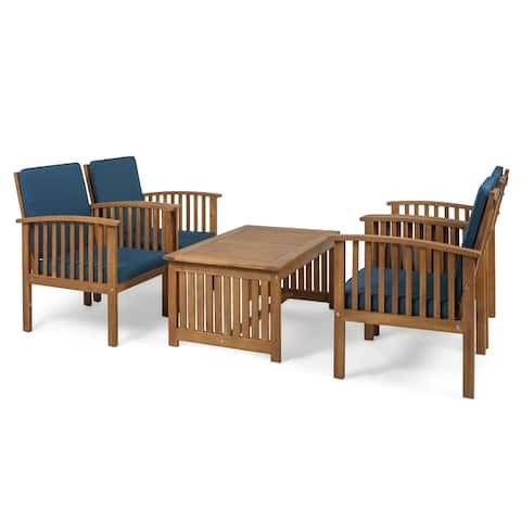 Carolina Outdoor 4-Seater Acacia Wood Club Chairs with Coffee Table by Christopher Knight Home