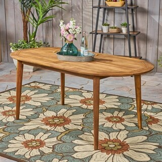 """Stamford Outdoor 71"""" Acacia Wood Oval Dining Table by Christopher Knight Home"""