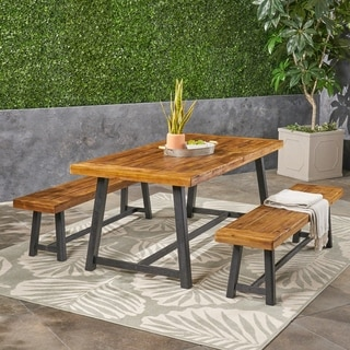 Raphael Outdoor Acacia Wood Picnic Set by Christopher Knight Home