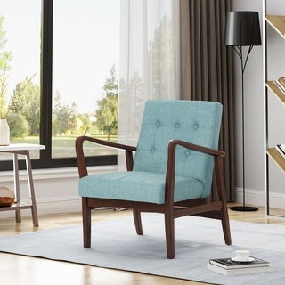 Marcola Fabric Mid-Century Birch Club Chair by Christopher Knight Home