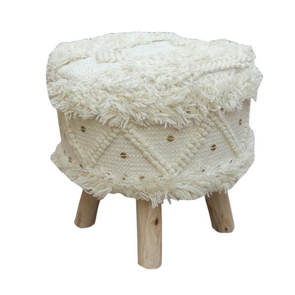 Stupendous Shop Roja Wool Boho Stool By Christopher Knight Home On Pdpeps Interior Chair Design Pdpepsorg