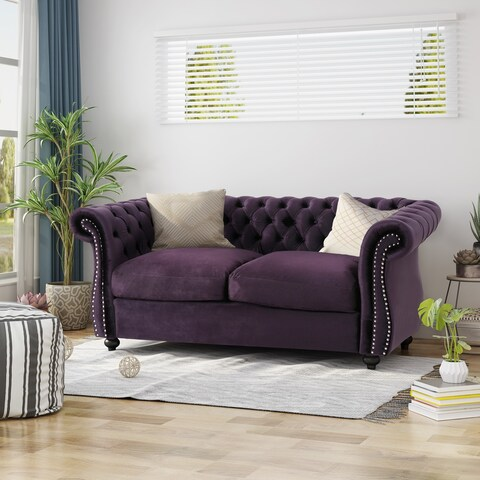 Somerville Traditional Chesterfield Loveseat Sofa by Christopher Knight Home - N/A