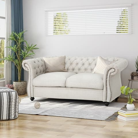 Somerville Traditional Chesterfield Loveseat Sofa by Christopher Knight Home