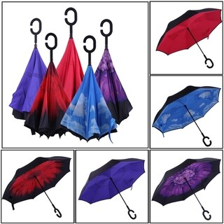 C Type Windproof Rain Protecting Double Layer Reverse Folding Umbrella