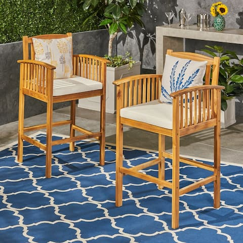 Casa Outdoor Acacia Barstools by Christopher Knight Home