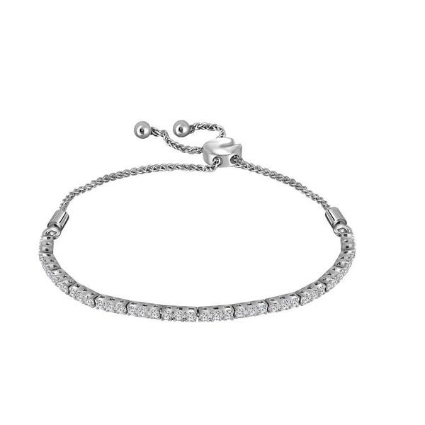 Shop 14kt White Gold Womens Round Diamond Bolo Bracelet 1