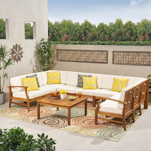 Perla Outdoor 9 Seater Acacia Wood Sectional Sofa Set with Cushions by Christopher Knight Home