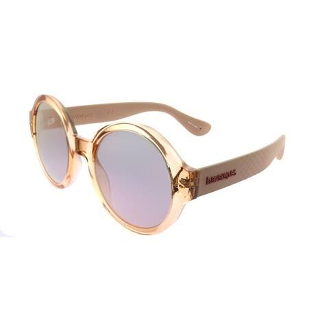 Havaianas Round Floripa/M 9R6 0J Unisex Salmon Frame Rose Gold Mirror Lens Sunglasses