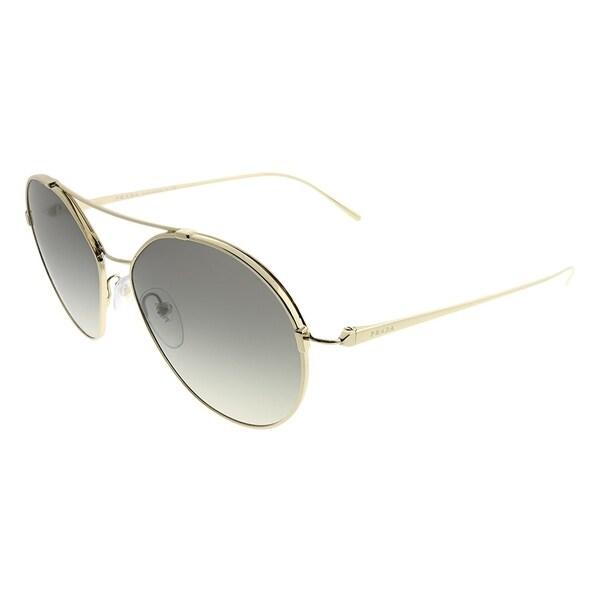 4b2e9fb6ee4 Prada Round PR 56US ZVN130 Woman Pale Gold Frame Grey Gradient Lens  Sunglasses