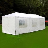 Mcombo Patio Outdoor Canopy Wedding Party Tent w/ 8 Removable Walls - WHITE - 10' x 30'