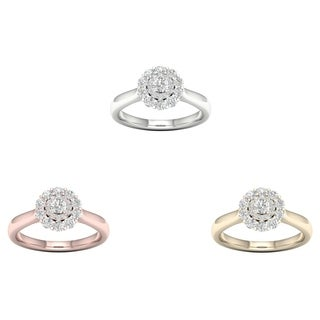 De Couer 14k Gold 3/4ct TDW Diamond Halo Ring