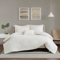 Urban Habitat Ellie Ivory Cotton Chenille Jacquard Duvet Cover Set