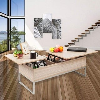 Lift-top Beige Wood Storage-style Coffee Table